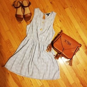 Light blue chambray dress with white detailing
